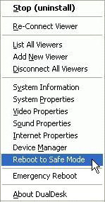 Remote System Menu - Stop (uninstall), Re-Connect Viewer, List All Viewers, Add New Viewer, Disconnect All Viewers, System Information, System Properties, Video Properties, Sound Properties, Internet Properties, Device Manager, Reboot to Safe Mode, Emergency Reboot (force remote computer reboot), About DualDesk